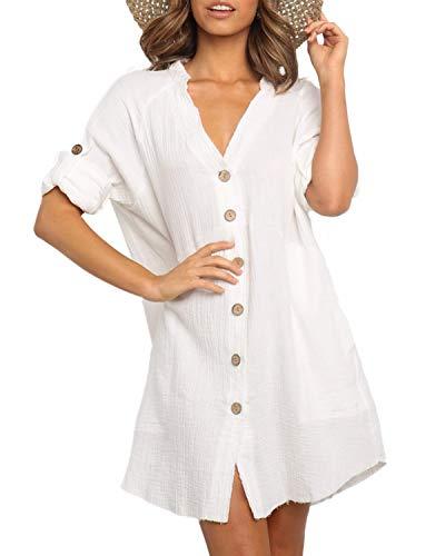 YOINS Mujer Vestido Camisero Vestido con Cuello En V Camisa Manga Larga con Botones Moda Vestido Casual Camisa Vestido Túnica Blanco S