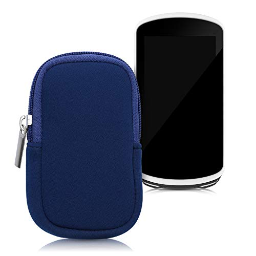 kwmobile Custodia Protettiva compatibile con Garmin Edge 1030/1030 Plus / 1000 - Astuccio in Neoprene Chiusura Zip - Soft Pouch per Bike GPS blu scuro