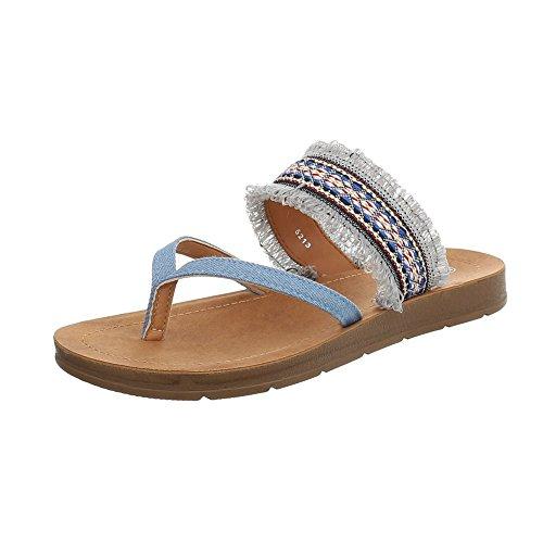 Ital-Design Zehentrenner Damen-Schuhe Sandalen & Sandaletten Hellblau, Gr 38, 5213-
