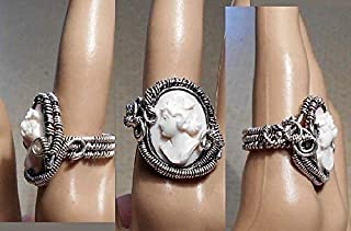 1 Wire Wrapped Cameo RING, Conch Shell, Sterling Ring, Expertly Carved Rare Left Facing Cameo, Handcrafted Unmarked, OOAK!