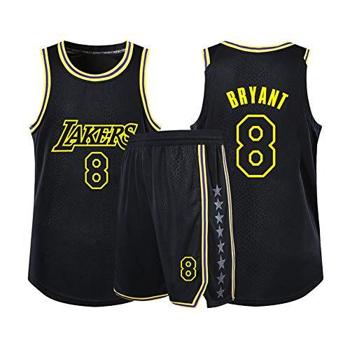 Curry Warriors #30 Herren Damen Atmungsaktiv Basketball Trikot Rundhals Fake Zweiteiler Kurzarm Jersey T-Shirt 2er Set (S-4XL) M Schwarz
