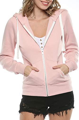 Womens Active Long Sleeve Fleece Zip Up Hoodie (Large, B1 Solid Blush Pink)