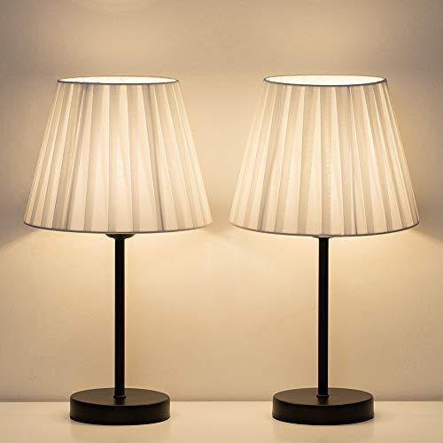 Shinoske - Juego de 2 lámparas de mesita de noche pequeñas con pantalla de tela blanca, elegantes lámparas de mesita de noche para salón, oficina, dormitorio, habitación de niños, habitación de niñas
