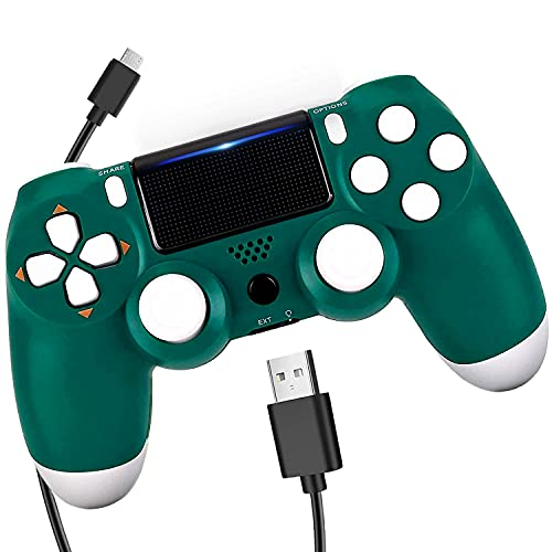 ATISTAK Alpine Green Wireless Remote Controller Compatible with Playstation 4 System,Gamapad Control with Two Motors and Charging Cable, Great Gamepad Gift for Girls/Kids/Man(New,Cheap Joystick