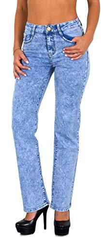 ESRA Damen Jeans Jeanshose Damen Straight High Waist Hose Hochbund bis Übergröße G200