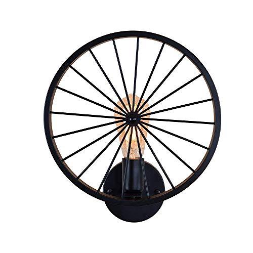 M-zmds Lampe de mur de roue de bicyclette vintage lumières ombre rétro industrielle Edison lampes de mur en métal