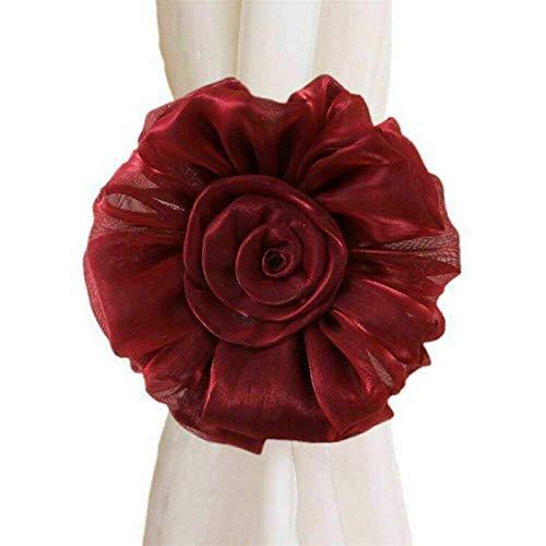 Donglinshangcheng Corbata de cortina 2 piezas de rosas para decoración de ventanas de habitación, cortina con clip utilizado para decorar cortinas (color rojo vino)