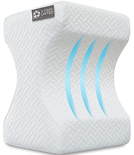 Knee Pillow for Side Sleepers - 100% Memory Foam Wedge Contour - Leg Pillows for Sleeping - Spacer...