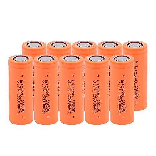 RitzyRose Batería Li-Ion De Litio De 3.7v 2500mah 18500, para Las BateríAs del Poder De Reserva del Banco del Poder 10pieces