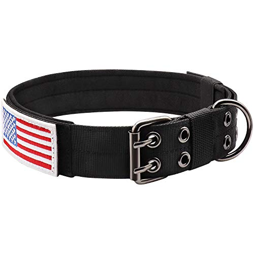 """Military Dog Collar Adjustable 1.5"""" Width Nylon Tactical Dog Collar Working K9 Collar with Metal D Ring & Buckle"""