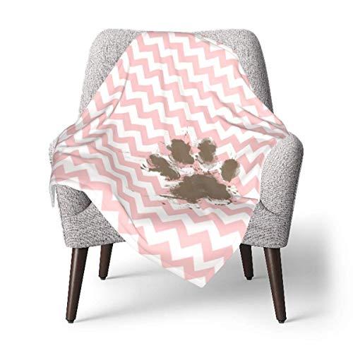 Manta de Tiro con Estampado de Pata Divertida en Rosa bebé, Manta de bebé de Chevron Rosa Claro, Manta de Felpa Suave, Manta de recepción, 76 X 102 CM