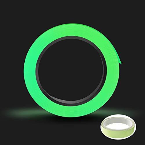 Nastro Fluorescente Adesivo,Nastro Sicurezza Luminoso Autoadesivo 10M x 1CM Glow in The Dark Tape per Segnaletica di Sicurezza Decorazione per Feste