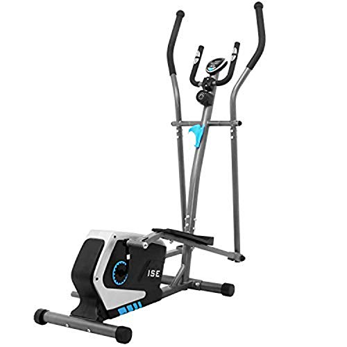 ISE Elliptical Cross Trainer Magnetic Exercise Bike, Magnetic Brake System, LCD Display, Compatible Ergometer, 8 Resistance Levels, 8 KG Inertia Weight, SY-9801