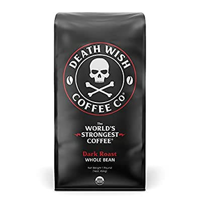Death Wish Whole Bean Coffee, The World's Strongest Coffee, Fair Trade and Organic