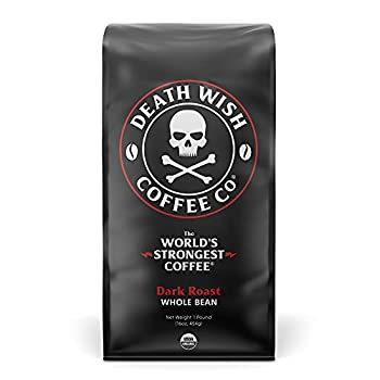 DEATH WISH COFFEE Whole Bean Coffee [16 oz.] The World s Strongest USDA Certified Organic Fair Trade Arabica and Robusta Beans  1-Pack