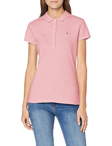 Tommy Hilfiger Damen Short Sleeve Slim Polo T-Shirt, Rosa (Matte Rosa Tov), 38 (Herstellergröße: Large)