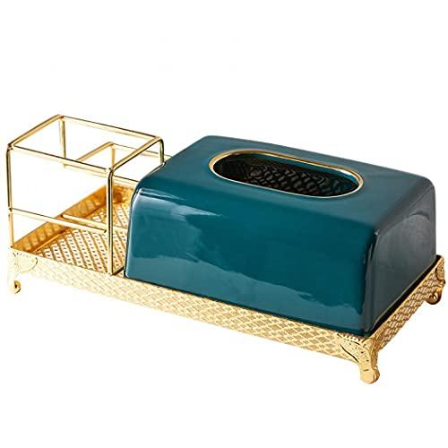 Soporte para pañuelos, creativo y funcional caja de almacenamiento de cerámica, caja de pañuelos rectangular de cerámica para el hogar o la oficina (verde oscuro con estante)