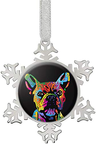 French Bulldog Snowflake Ornaments Personalized Christmas Tree Decoration Stainless Steel Home Decoration Hanging Pendants