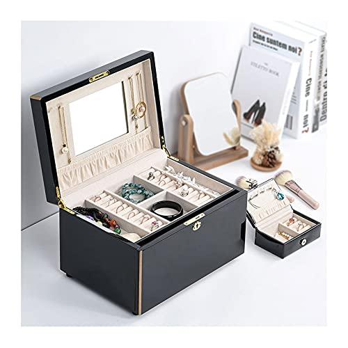 Joyería Caja de Almacenamiento Caja de joyería de madera para mujeres, caja de almacenamiento de joyería con llave con espejo, almacenamiento para el collar de reloj Pulsera de anillo de anillo Colgad