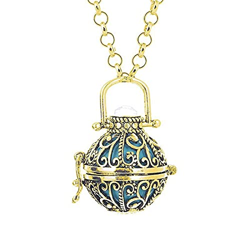 ZIYUYANG collar colgante, moda retro hueco perfume suéter cadena colgante aroma collar oro