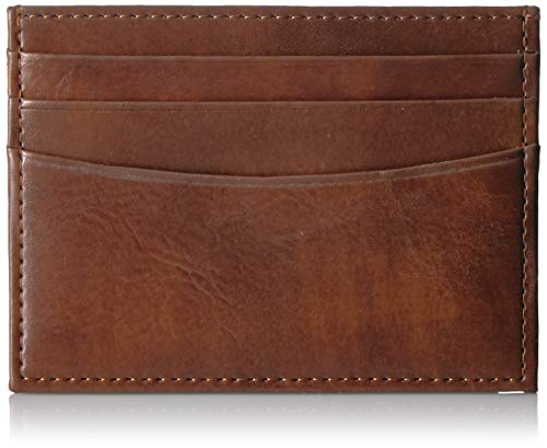 Amazon Essentials Men's RFID Blocking Slim Card Carrier Wallet, Brown, One Size