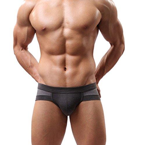 Malloom® Uomo Sexy Mutande Cotone Intimo Boxer Uomo Slip Morbidi (Grigio, L)