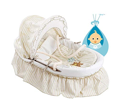 Learn More About WANXJM Yellow Cornskin Weave Padded Moses Basket with Adjustable Awning and Many Ot...
