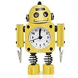Betus Reloj Despertador con Robot sin tictac Fabricado en Metal a Prueba de Herrumbre - Reloj Despertador con Ojos parpadeantes y Clip para la Mano (Amarillo)