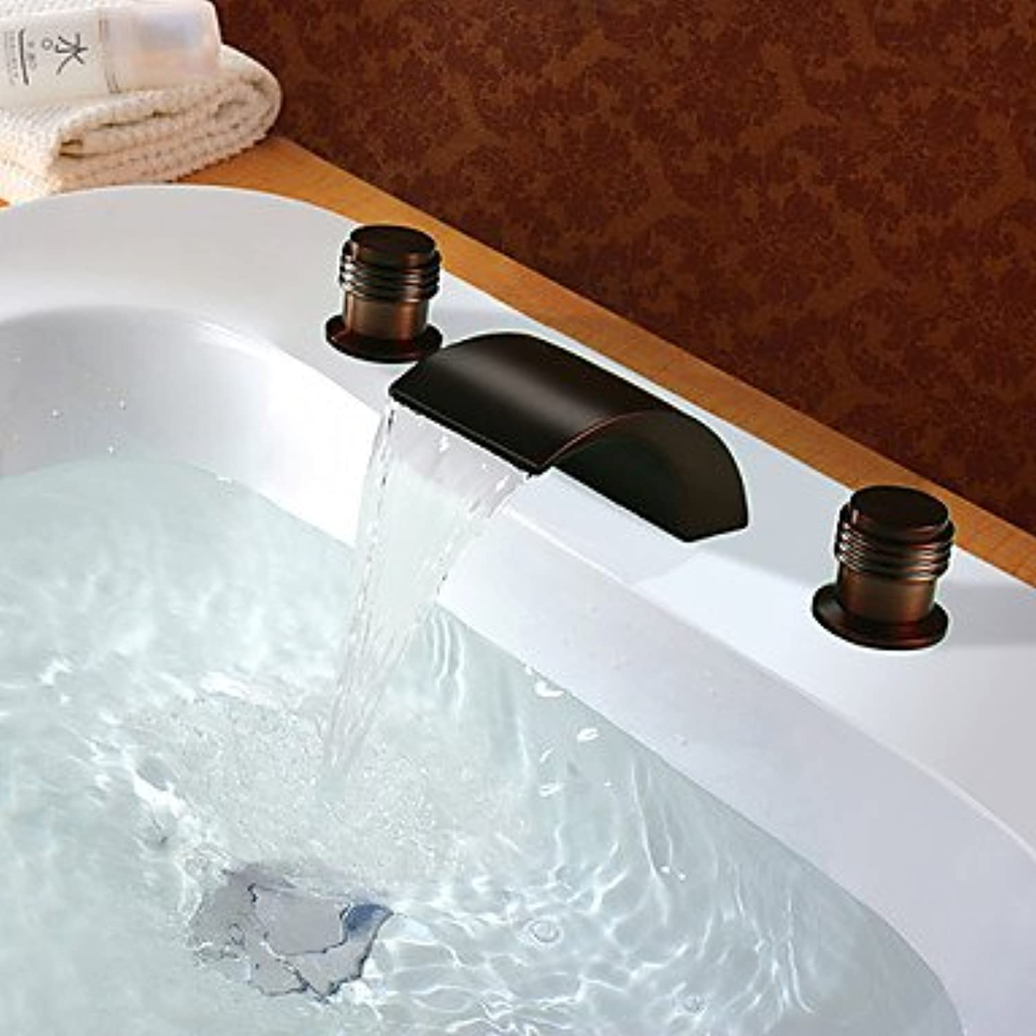 Y&M Faucet£? Oil deck inssizetion copper finish waterfall lavatory faucet or bathroom sink faucet