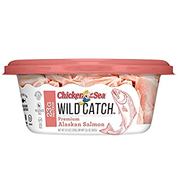 Chicken of the Sea Wild Catch 100% Natural Alaskan Salmon 4.5oz Cups  8 Pack  - Keto and Paleo Gluten Free High in Omega 3 Fatty Acids & Protein