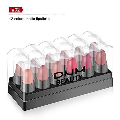 Allbesta 12 pcs/set Matt Velvet Lippenstift Mini Bullet Bead 12 Farben Lips Make-up Geschenkset Wasserfest Langanhaltend