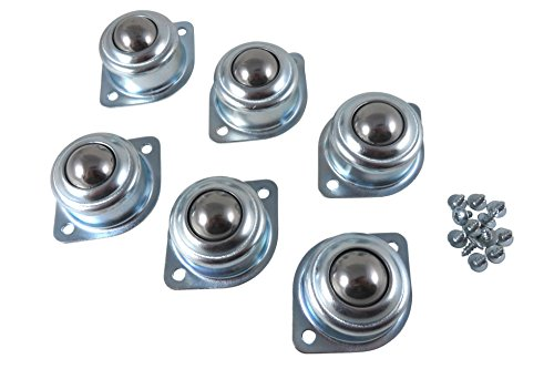 Taytools 603004 6 Piece Set of 1 Inch Roller Bearing Roller Ball Transfer Bearings, Overall Size 2-3/4 Inches Wide by 1-1/4 Inches Tall