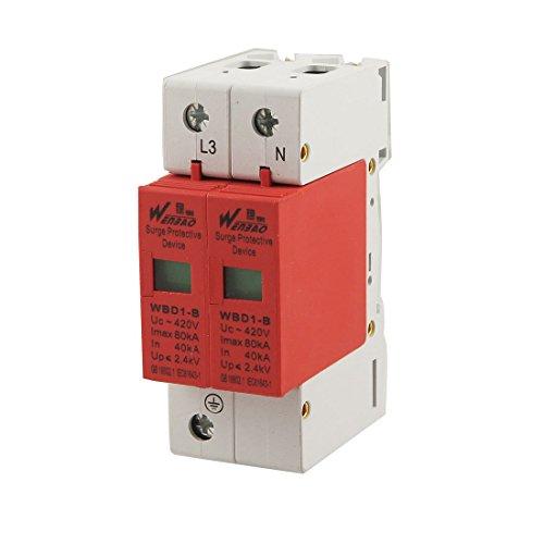 AC 420V 80KA Max 40KA actual En 1P + N Montaje en carril DIN Protección contra sobretensiones pararrayos del dispositivo