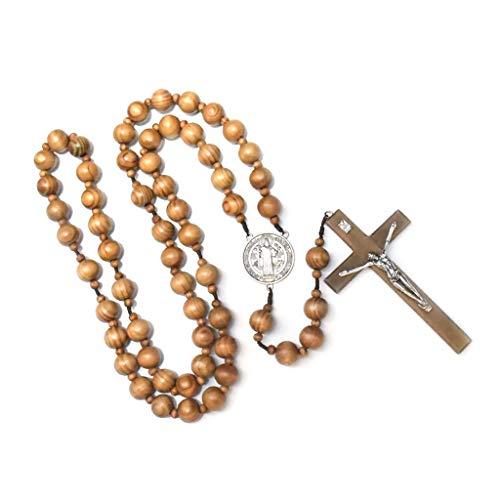Mouci Mode handgemachte runde Holzperle katholische Wand Rosenkranz Kreuz religiöse Halskette