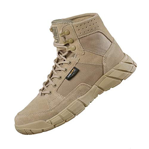 FREE SOLDIER Men s Tactical Boots 6 Inches Summer Lightweight Breathable Desert Boots with Thin Durable Fabric(Tan  10.5 US)