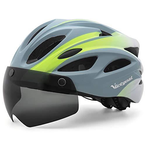 VICTGOAL Casco Bici con Luce di LED Occhiali Magnetici Rimovibili Leggero Casco Bici da Corsa per Uomo Donna 57-61 CM (Bianco Grigio)