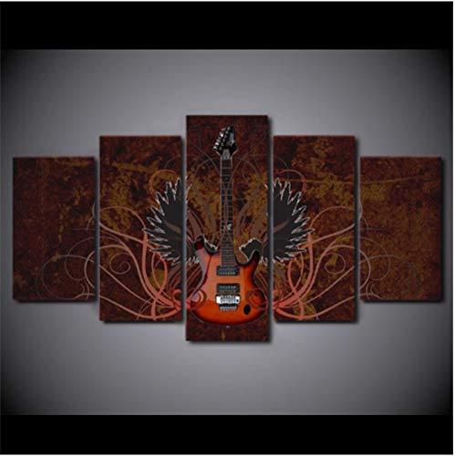 Jwqing Canvas muurkunst foto's Home Decor ruimte poster muziekinstrument abstracte vleugels gitaar HD gedrukt schilderij (30x40cmx2 30x60cmx2 30x80cm geen lijst)