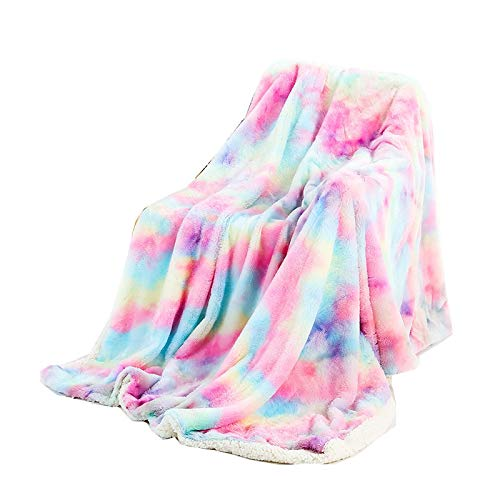 CXQD Manta para siestas, diseño de arco iris, teñida con lazo para aire acondicionado, manta de lana (130 x 160 cm)