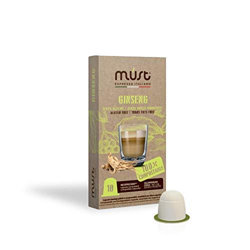 MUST 100 Capsule Caffè al GINSENG Autoprotette 100% Compostabili miscela Ginseng Panarex pack da 10...