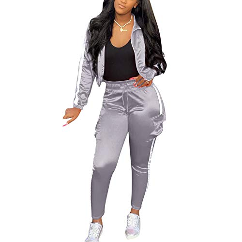 Jumpsuits for Women Casual - Women Casual Tracksuit 2 Piece Sexy Club Outfits Zip Top Jacket Elastic Waistband Skinny Pant Luminous Stripes Grey