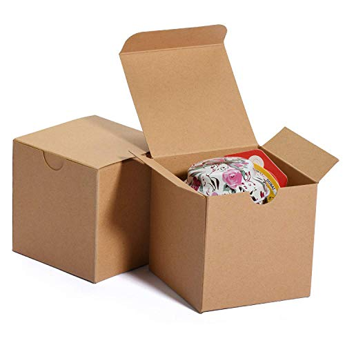 HOUSE DAY Scatole regalo 7.6x7.6x7.6cm, scatole di carta bianca con coperchi per regali, creazione, scatole per imballaggio cupcake (50 pezzi) (naturale)