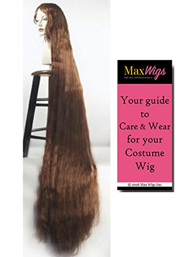 Better Discount Godiva Color WHITE - Lacey Wigs 5 ft Long Rapunzel High Theater Quality Style B1184 Bundle with MaxWigs Costume Wig Care Guide