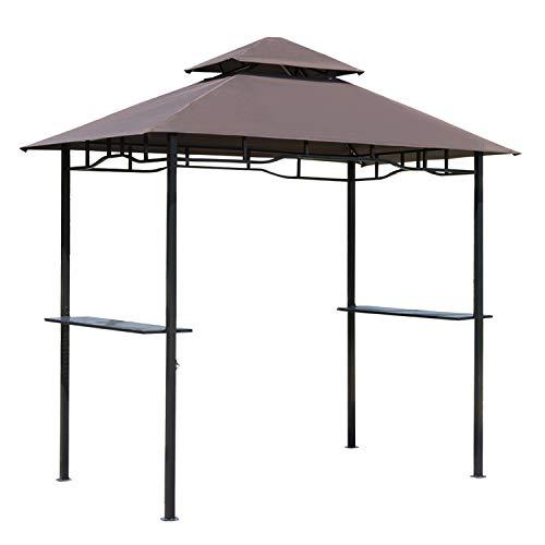 Outsunny Pabellón de Jardín 245x148 cm Cenador con Doble Techo Protección Solar 2 Estantes Laterales con Abrebotellas para Barbacoa Fiesta Eventos Exterior Color Café