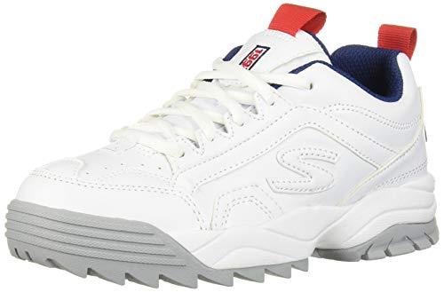 Skechers Kids Boys' INTERSHIFT Sneaker, White/Navy/Red, 5 Medium US Big Kid