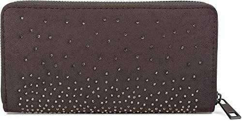 styleBREAKER Damen Geldbörse mit Strass Nieten, Reißverschluss, Portemonnaie 02040111, Farbe:Dunkelgrau