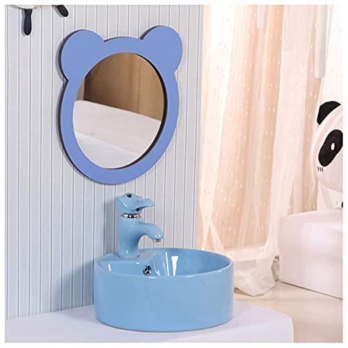 Lavabo sobre Encimera Pequeno Arte Infantil ,Moderno Lavamanos Ceramica,Estilo Europeo Fregadero Adecuado para Inodoro Y Baño Lávate La Cara, Lávate Las Manos(Color:Conjunto Completo de Azul)