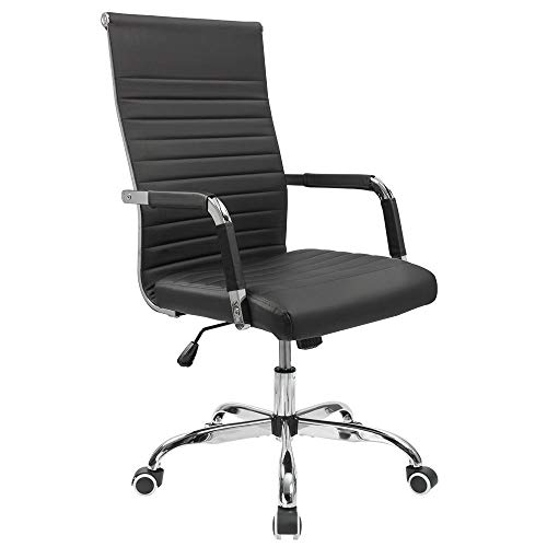 Furmax Ribbed Office Desk Chair Mid-Back PU Leather Executive Conference Task Chair Adjustable Swivel Chair with Arms