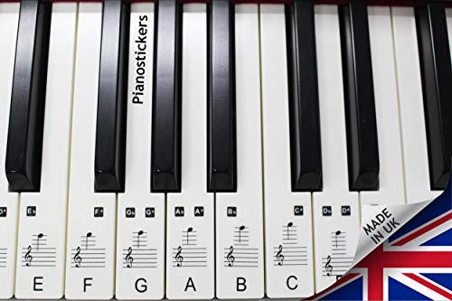 Piano Stickers Für 49/61/76/88 Tasten Tastatur, transparent, laminiert, ultradünn, ablösbar, Aufkleber für die weißen Tasten, hergestellt in Großbritannien, PS1C 88
