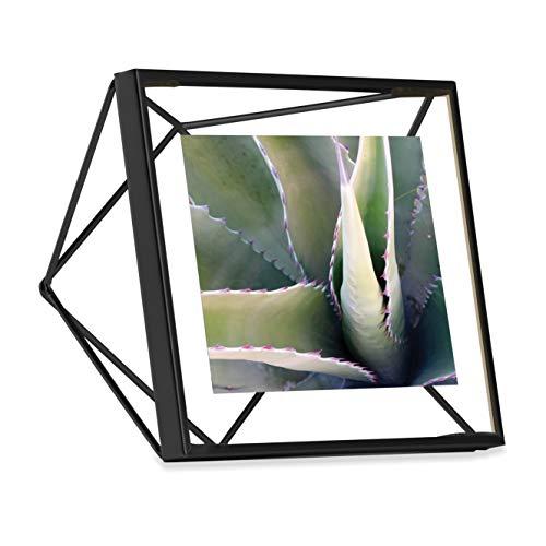 Umbra Prisma 10x10 cm Bilderrahmen-Wand-und Tisch Fotorahmen für Bilder, Kunstdrucke, Illustrationen, Graphiken und Mehr, Metall, Schwarz, 10x10