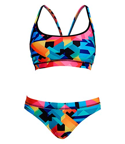 Funkita Damen Bikini Set Sportbikini Sports Top Two Piece Colour Burst, Größe:34